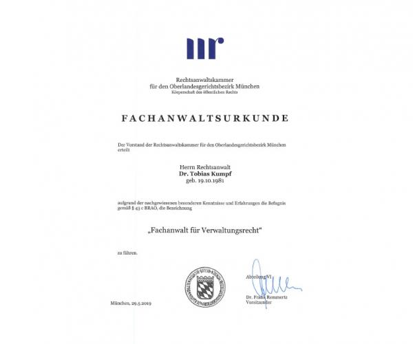 Urkunde Fachanwalt Verwaltungsrecht - Tobias Kumpf